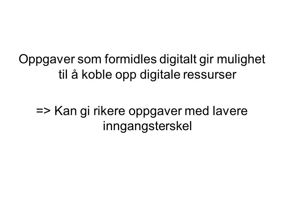 Oppgaver som formidles digitalt gir mulighet til å koble opp digitale ressurser => Kan gi rikere oppgaver med lavere inngangsterskel