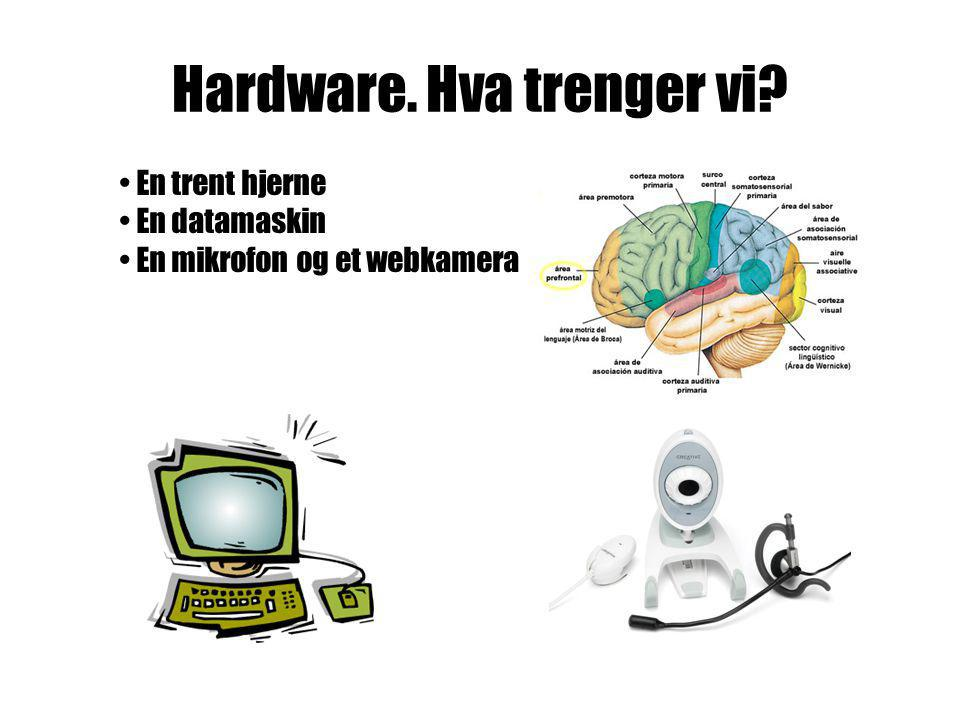 Hardware. Hva trenger vi? • En trent hjerne • En datamaskin • En mikrofon og et webkamera