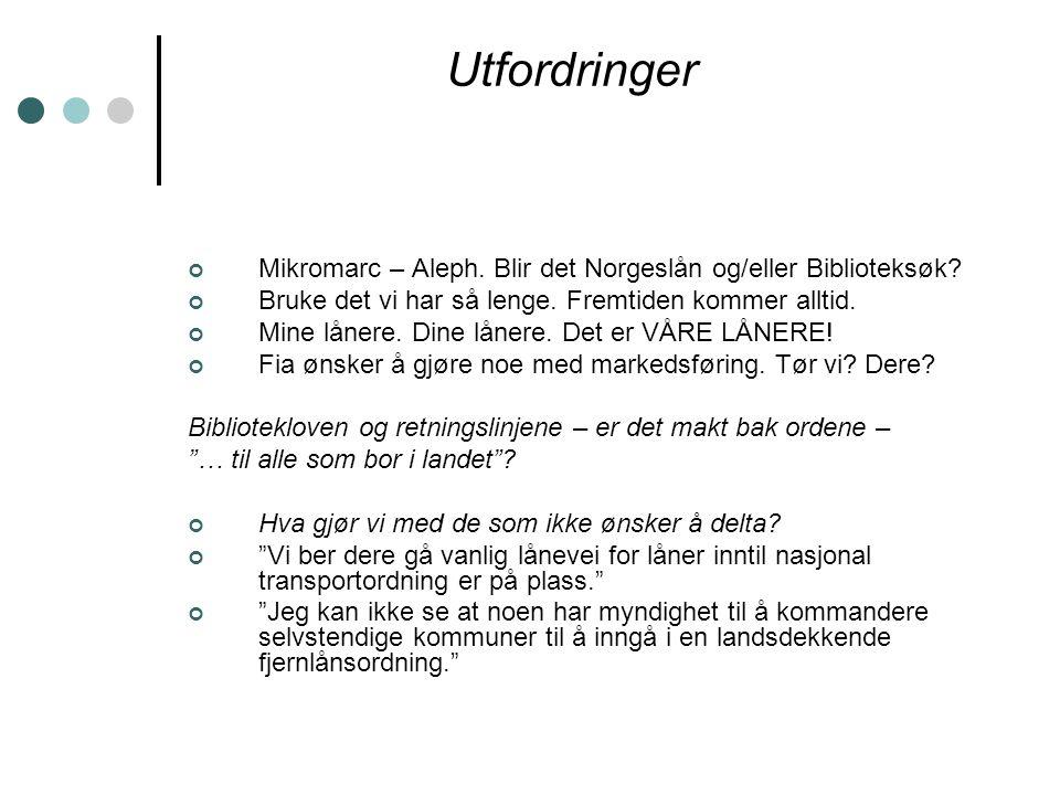 Utfordringer Mikromarc – Aleph. Blir det Norgeslån og/eller Biblioteksøk.