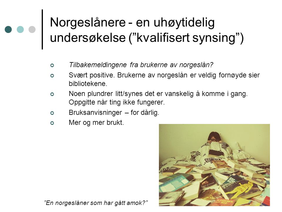 Norgeslånere - en uhøytidelig undersøkelse ( kvalifisert synsing ) Tilbakemeldingene fra brukerne av norgeslån.