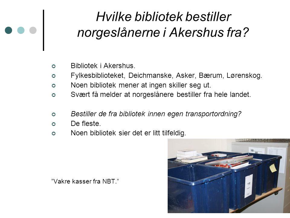 Hvilke bibliotek bestiller norgeslånerne i Akershus fra.