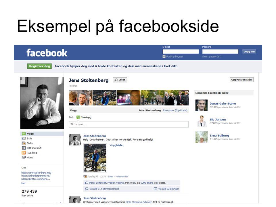 Eksempel på facebookside