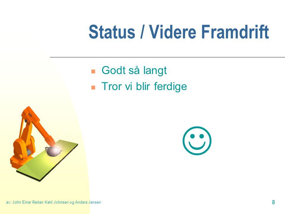 av: John Einar Reitan Ketil Johnsen og Anders Jensen 8 Status / Videre Framdrift  Godt så langt  Tror vi blir ferdige 