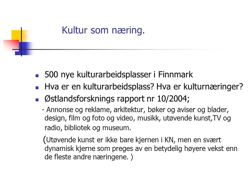 Kultur som næring. 500 nye kulturarbeidsplasser i Finnmark  Hva er en kulturarbeidsplass.