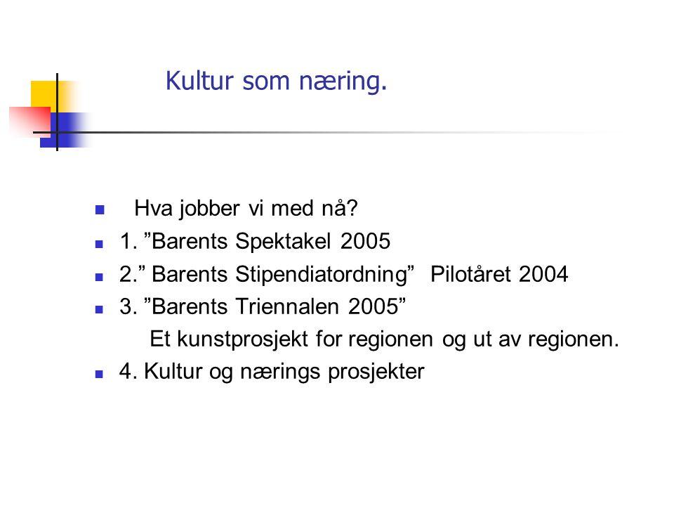 Kultur som næring.  Eksempel: Barentskunst Prosjektet Migration - PB initierte i 2002 Barents Kunst Prosjektet Migration.  -et Jubileumsprosjekt i f