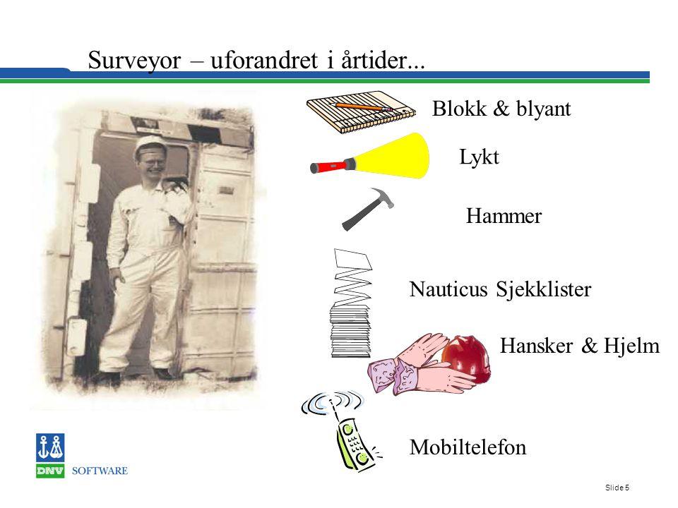 Slide 5 Blokk & blyant Lykt Hammer Nauticus Sjekklister Hansker & Hjelm Surveyor – uforandret i årtider...