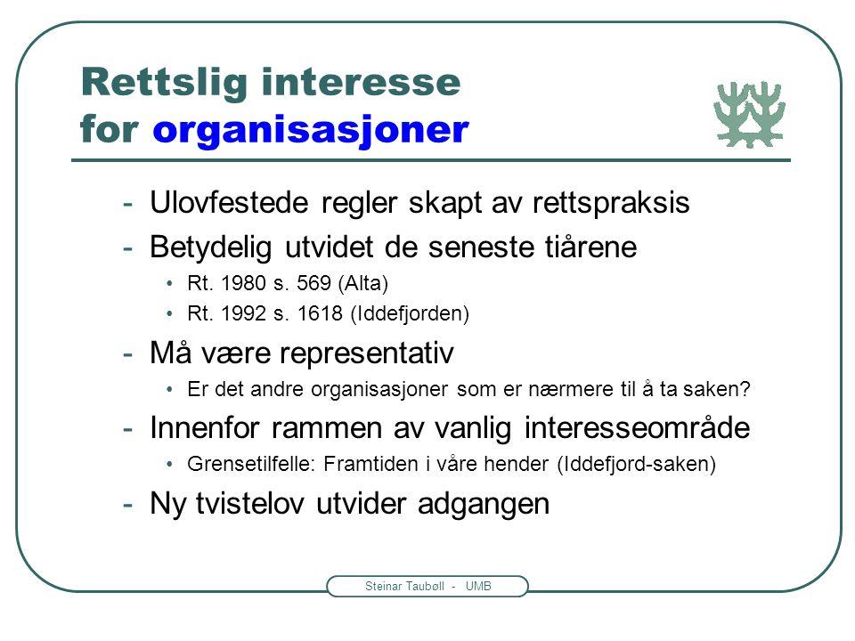 Steinar Taubøll - UMB Rettslig interesse for offentlige organer -I privatrettslig rolle •Eks: Naboforhold -Som representant for samfunnsinteresser •Ek