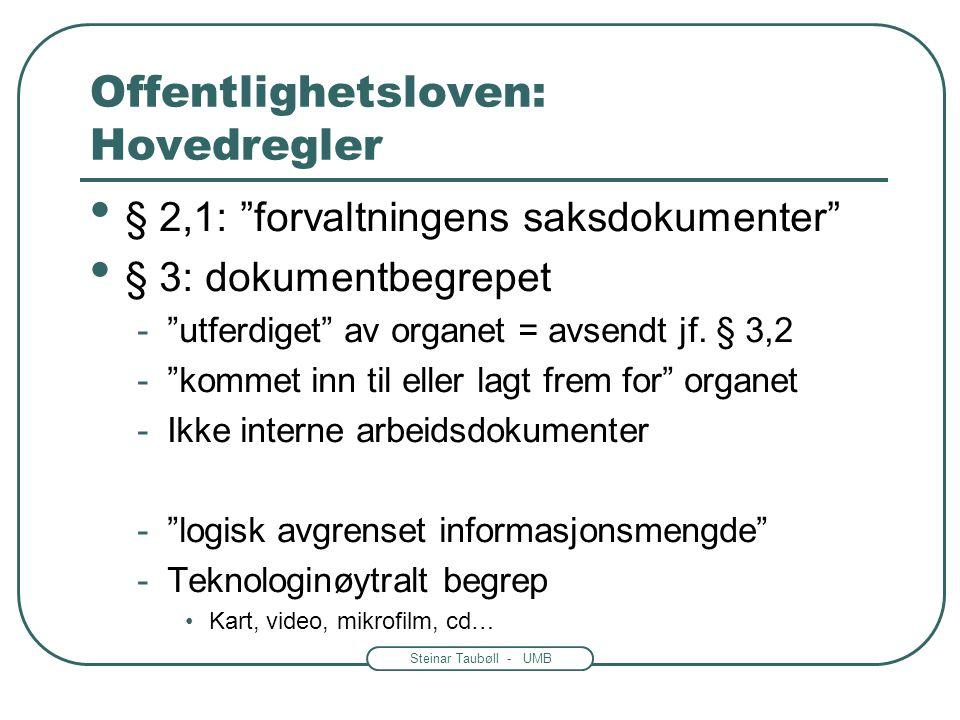 Steinar Taubøll - UMB Offentlighetsloven • Lov av 19.juni 1970 nr.69 •Ny lov av 19. mai 2006 nr 16 er ennå ikke trådt i kraft. -Noen dokumenter må leg