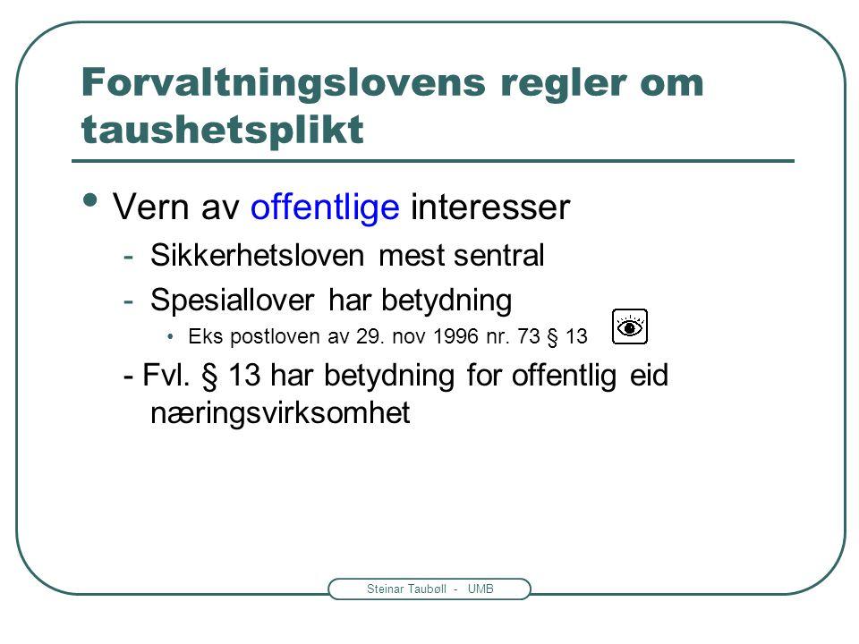 Steinar Taubøll - UMB Forvaltningslovens regler om taushetsplikt • Vern av private interesser -Hovedregel § 13 -Personlige forhold •Helse, økonomi, fa