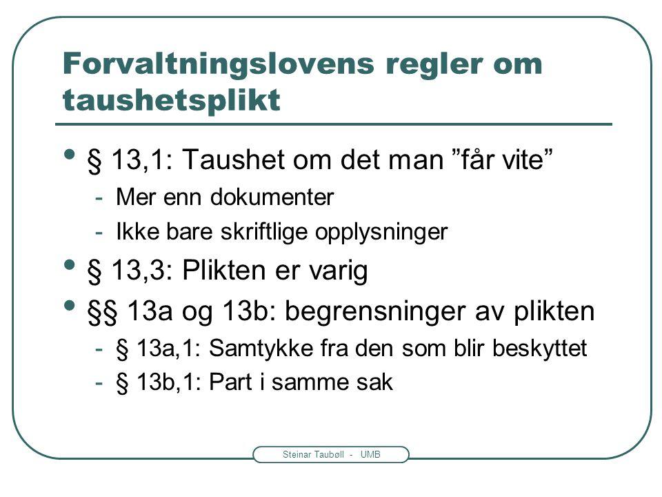Steinar Taubøll - UMB Forvaltningslovens regler om taushetsplikt • Vern av offentlige interesser -Sikkerhetsloven mest sentral -Spesiallover har betyd