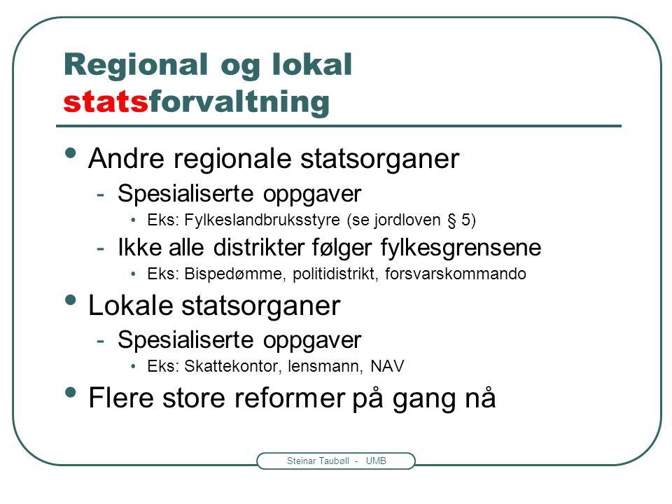 Steinar Taubøll - UMB Regional og lokal statsforvaltning • Fylkesmannen •Statens altmuligmann i fylket •Amtmannstradisjon fra 1660 -Mange oppgaver •Sa