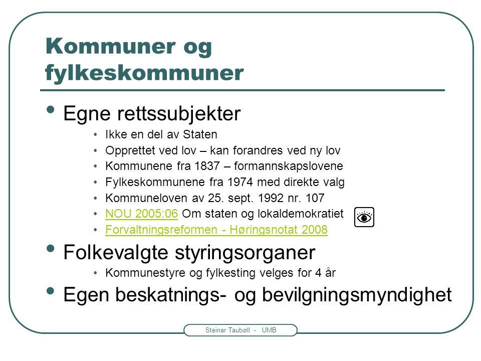 Steinar Taubøll - UMB Regional og lokal statsforvaltning • Andre regionale statsorganer -Spesialiserte oppgaver •Eks: Fylkeslandbruksstyre (se jordlov