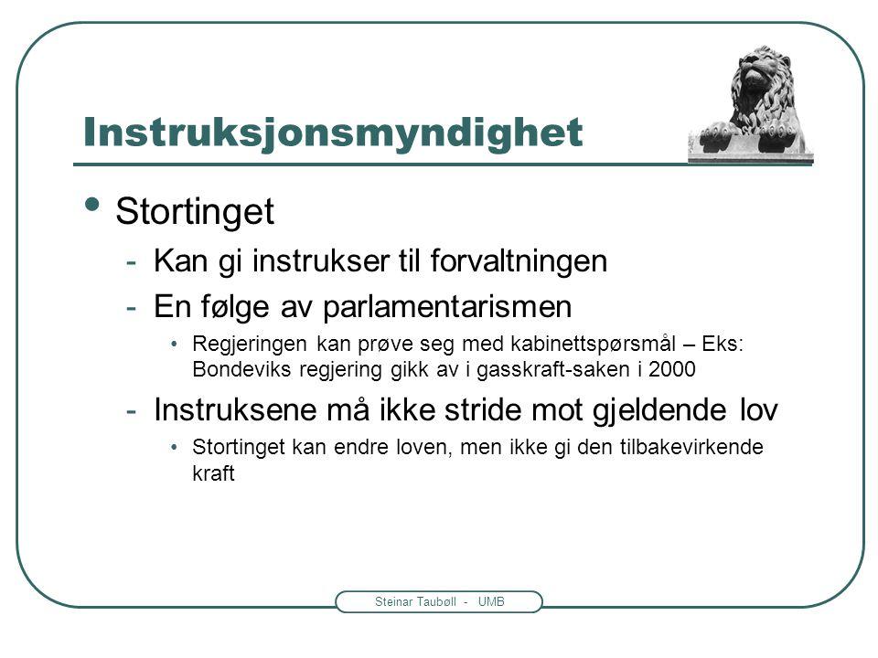 Steinar Taubøll - UMB Instruksjonsmyndighet • Forvaltningens organer og personale må styres • Kompetansen til å styre henger sammen med posisjoner i h