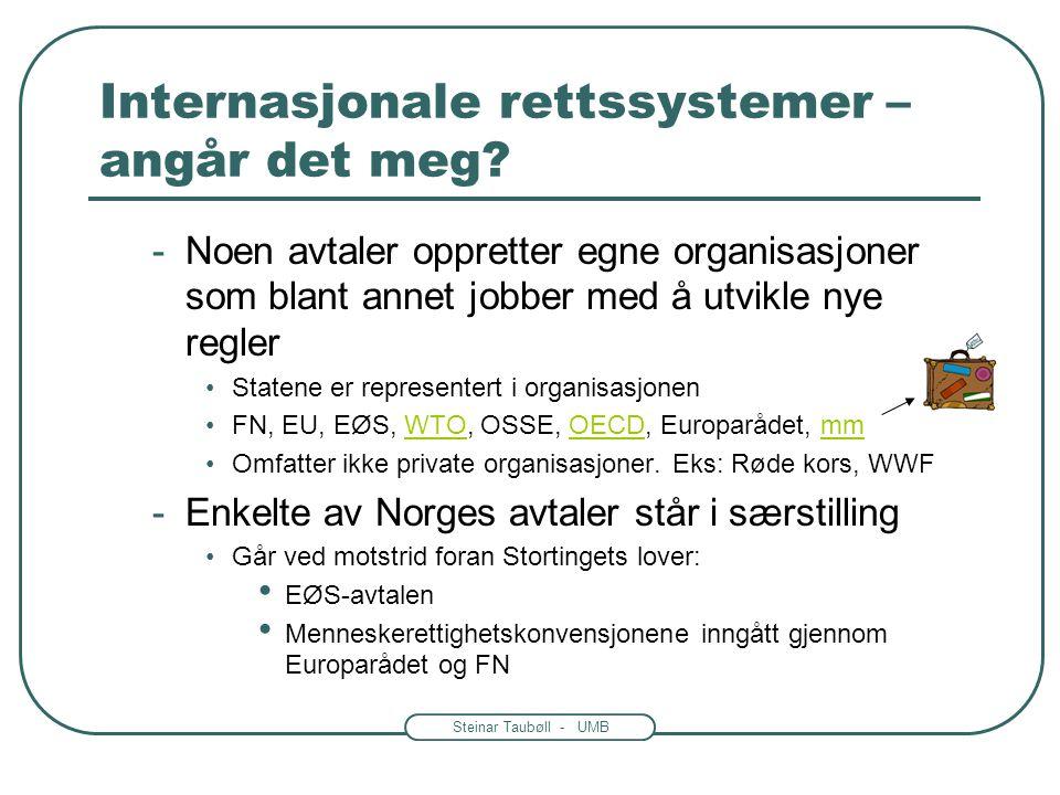 Steinar Taubøll - UMB Internasjonale rettssystemer – angår det meg? • Folkerett -Avtaler mellom nasjonalstater •Kalles konvensjoner, avtaler, traktate