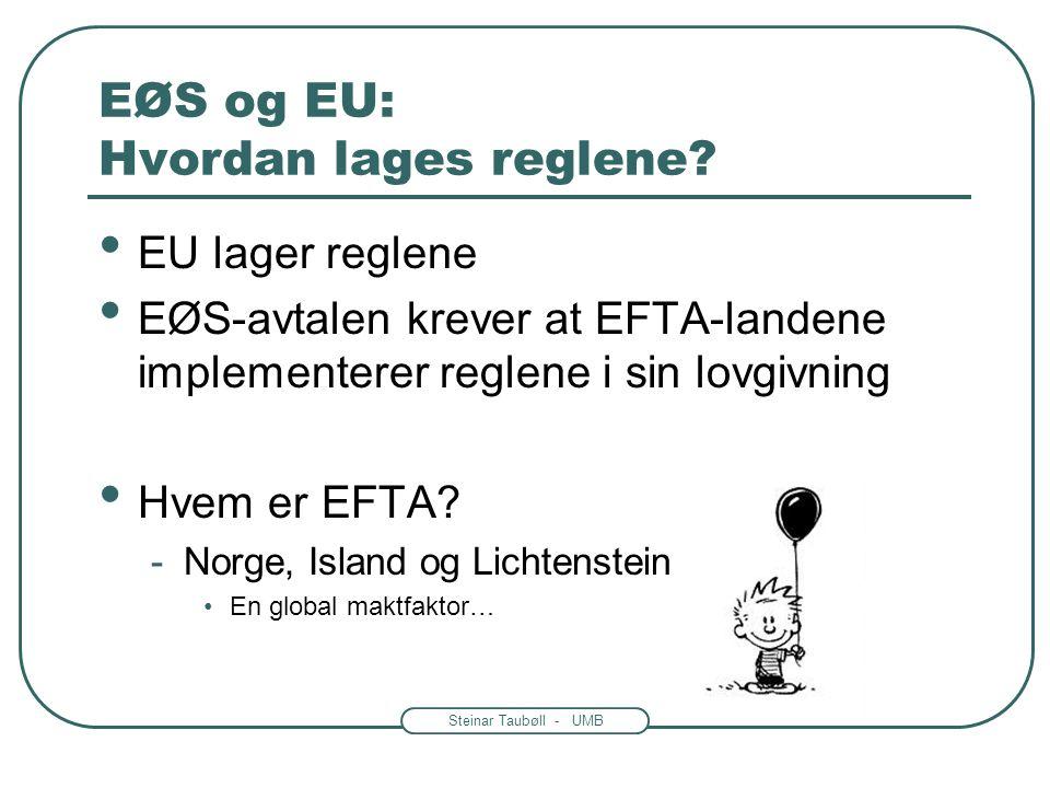 Steinar Taubøll - UMB EØS-avtalen • EØS –avtalen -Inngått i 1992 -12000 sider regeltekst gjort til norsk rett -EØS-loven av 27. nov. nr.109 1992 •EØS-
