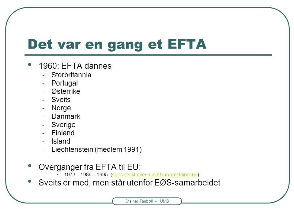 Steinar Taubøll - UMB EØS og EU: Hvordan lages reglene? • EU lager reglene • EØS-avtalen krever at EFTA-landene implementerer reglene i sin lovgivning