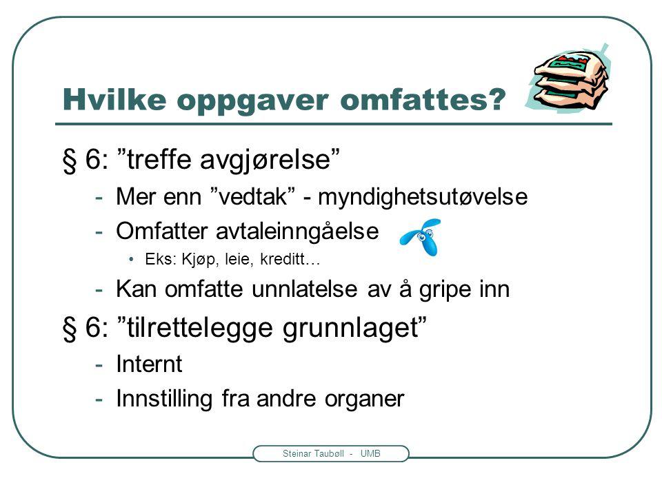 """Steinar Taubøll - UMB Hvem omfattes av reglene? • Hvilke organer? -Utgangspunkt: fvl. § 1 -Kap. II gjelder """"et hvert organ"""" (unntak i § 4) • Hvilke pe"""