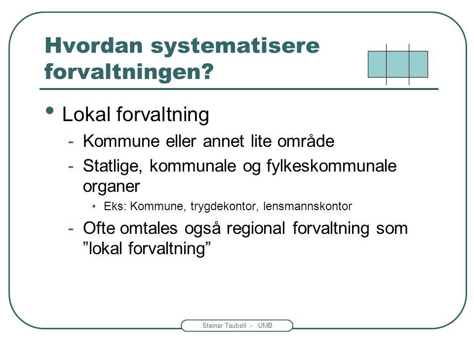 Steinar Taubøll - UMB Hvordan systematisere forvaltningen? • Sentralforvaltning -Hele landet som virkeområde -Statlige organer •Regjeringen •Departeme