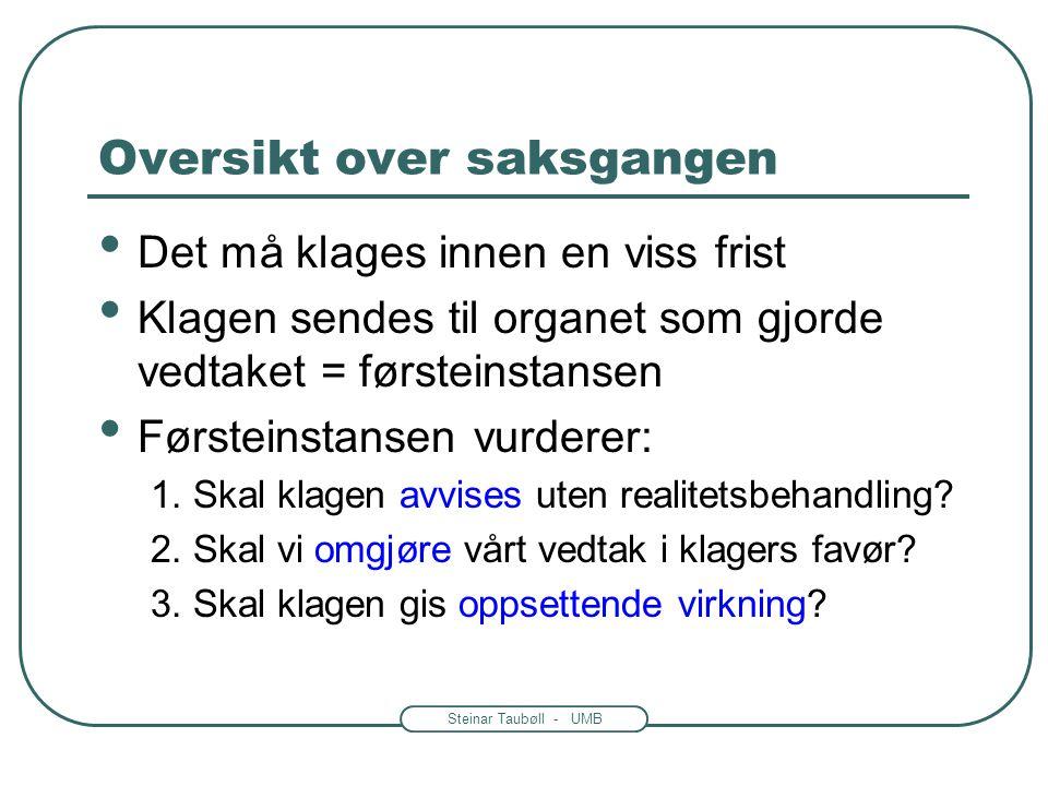 Steinar Taubøll - UMB Klagereglene i forvaltningsloven • Gjelder klage til overordnet forvaltningsorgan • Andre muligheter for den misfornøyde: -Be ve