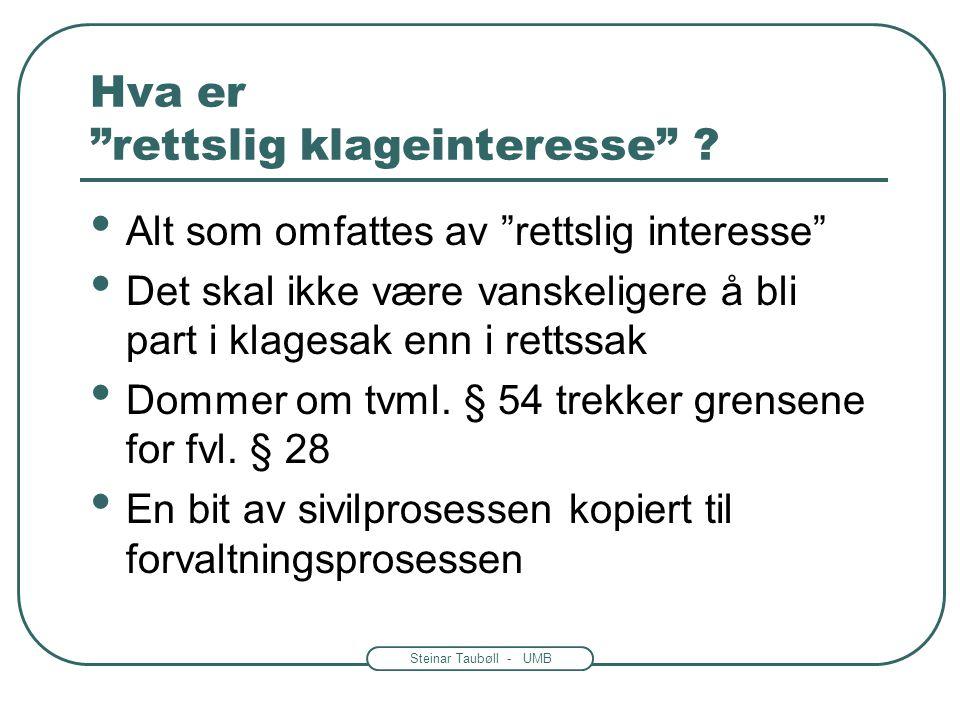 """Steinar Taubøll - UMB Hvem kan klage? • Fvl. § 28: """"en part eller en annen med rettslig klageinteresse"""" -Andre enn parten kan være sterkt berørt av ve"""