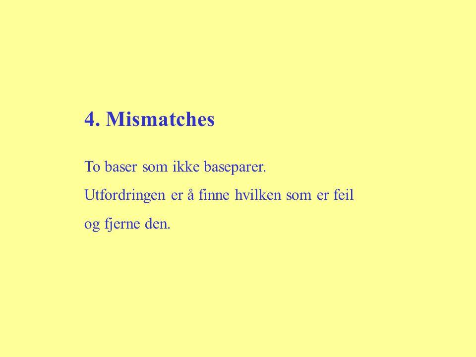 4. Mismatches To baser som ikke baseparer. Utfordringen er å finne hvilken som er feil og fjerne den.