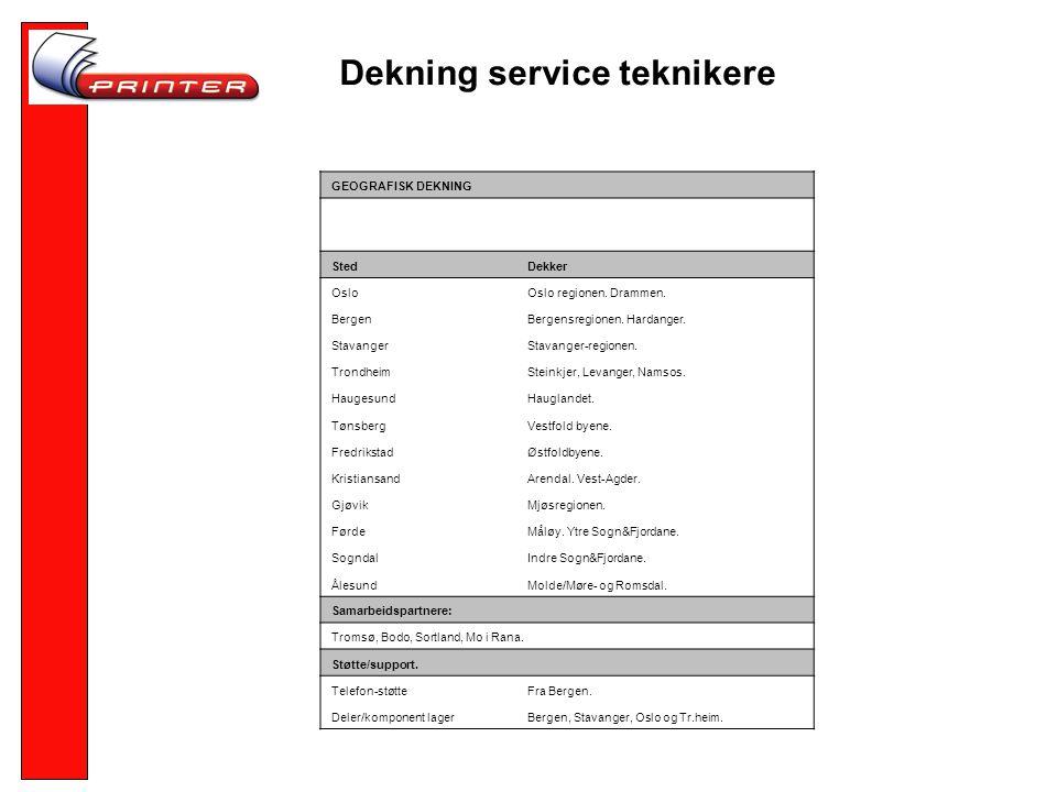 Dekning service teknikere GEOGRAFISK DEKNING StedDekker OsloOslo regionen.