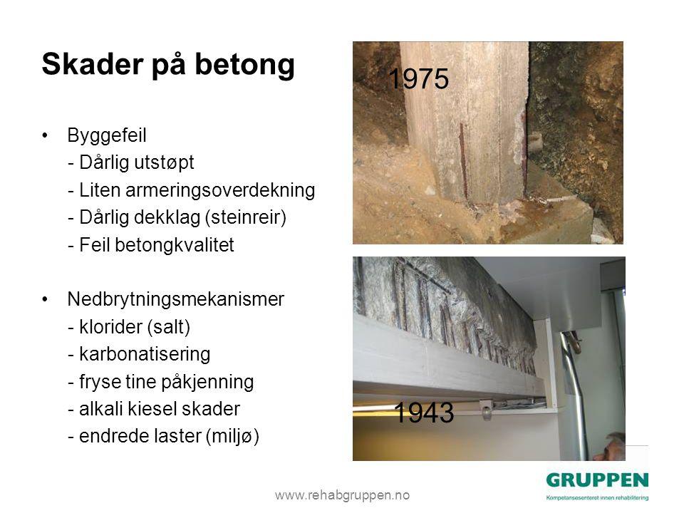 www.rehabgruppen.no Skader på betong •Byggefeil - Dårlig utstøpt - Liten armeringsoverdekning - Dårlig dekklag (steinreir) - Feil betongkvalitet •Nedbrytningsmekanismer - klorider (salt) - karbonatisering - fryse tine påkjenning - alkali kiesel skader - endrede laster (miljø) 1975 1943