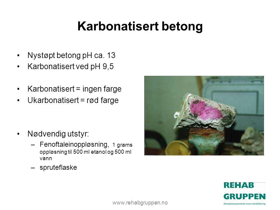 www.rehabgruppen.no Karbonatisert betong •Nystøpt betong pH ca.
