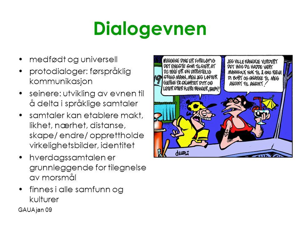 GAUA jan 09 Samtalen •muntlig •tekst •her og nå •to eller flere deltakere •språklige og ikke-språklige bidrag •samtaleturer •sekvenser •situasjons- kontekst