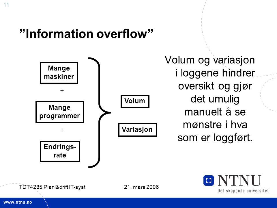 """11 21. mars 2006 TDT4285 Planl&drift IT-syst """"Information overflow"""" Volum og variasjon i loggene hindrer oversikt og gjør det umulig manuelt å se møns"""