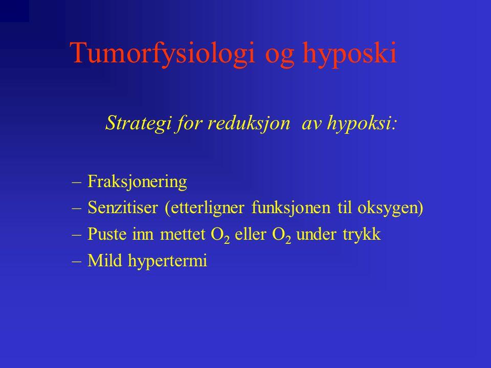Tumorfysiologi og hyposki Strategi for reduksjon av hypoksi: –Fraksjonering –Senzitiser (etterligner funksjonen til oksygen) –Puste inn mettet O 2 eller O 2 under trykk –Mild hypertermi
