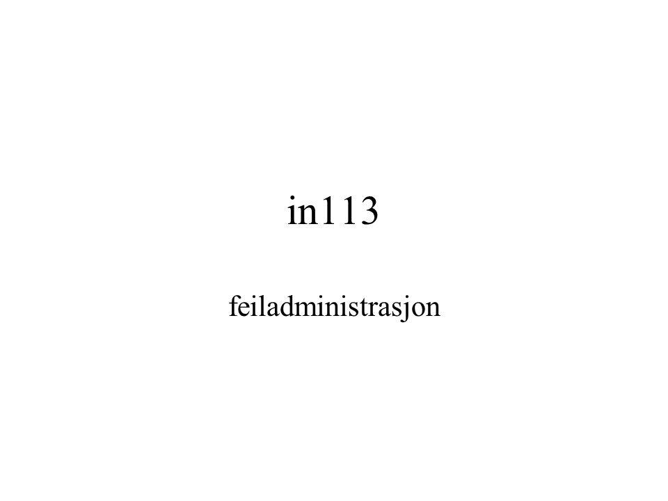 in113 feiladministrasjon