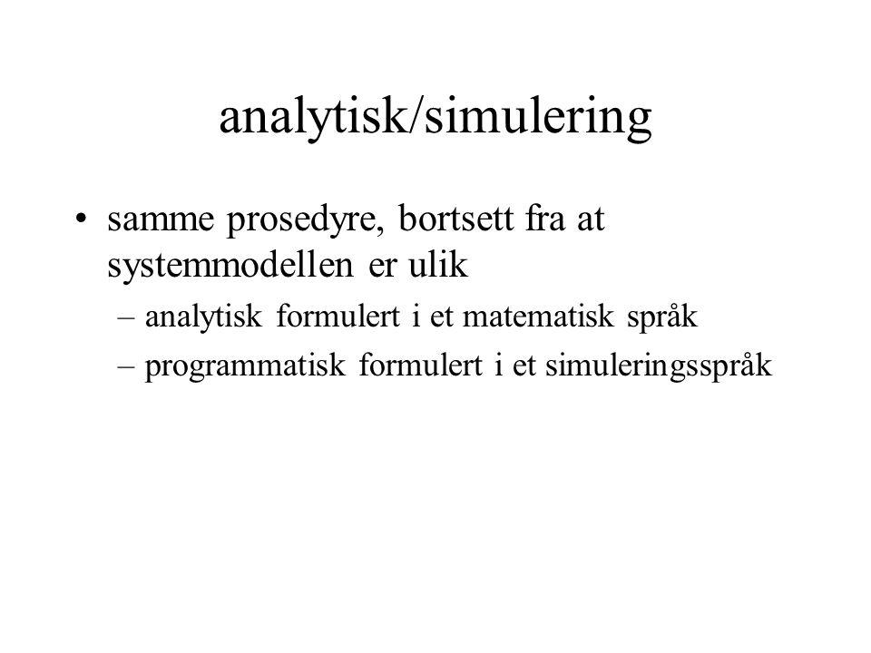 analytisk/simulering •samme prosedyre, bortsett fra at systemmodellen er ulik –analytisk formulert i et matematisk språk –programmatisk formulert i et simuleringsspråk