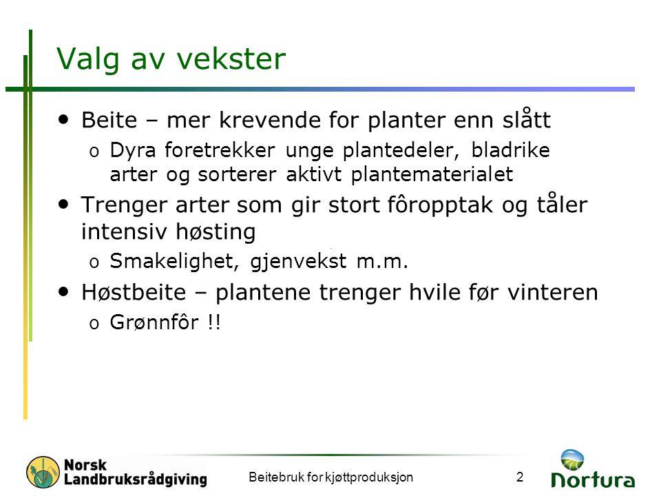 Valg av vekster • Beite – mer krevende for planter enn slått o Dyra foretrekker unge plantedeler, bladrike arter og sorterer aktivt plantematerialet •
