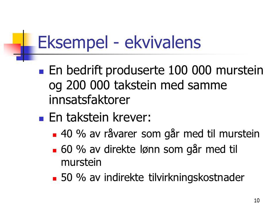 10 Eksempel - ekvivalens  En bedrift produserte 100 000 murstein og 200 000 takstein med samme innsatsfaktorer  En takstein krever:  40 % av råvare