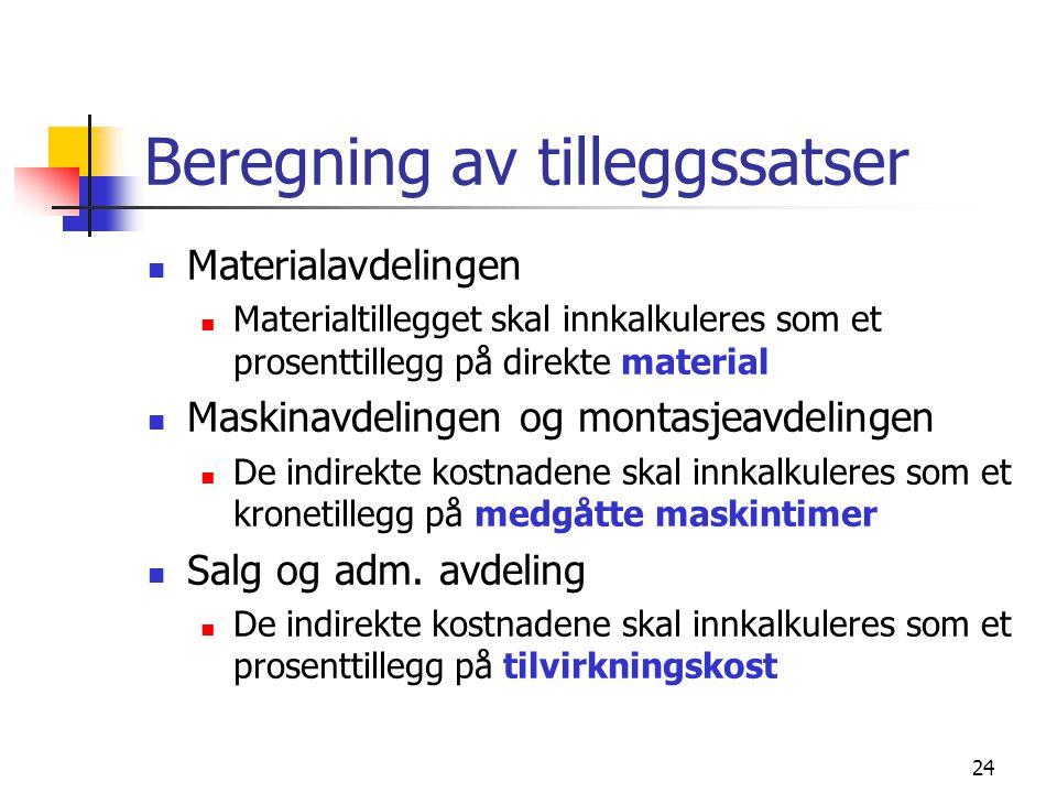 24 Beregning av tilleggssatser  Materialavdelingen  Materialtillegget skal innkalkuleres som et prosenttillegg på direkte material  Maskinavdelinge