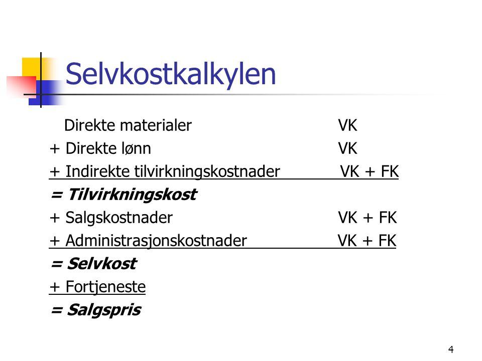 4 Selvkostkalkylen Direkte materialerVK + Direkte lønnVK + Indirekte tilvirkningskostnader VK + FK = Tilvirkningskost + SalgskostnaderVK + FK + Administrasjonskostnader VK + FK = Selvkost + Fortjeneste = Salgspris