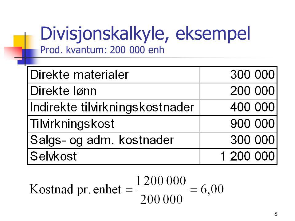 8 Divisjonskalkyle, eksempel Prod. kvantum: 200 000 enh