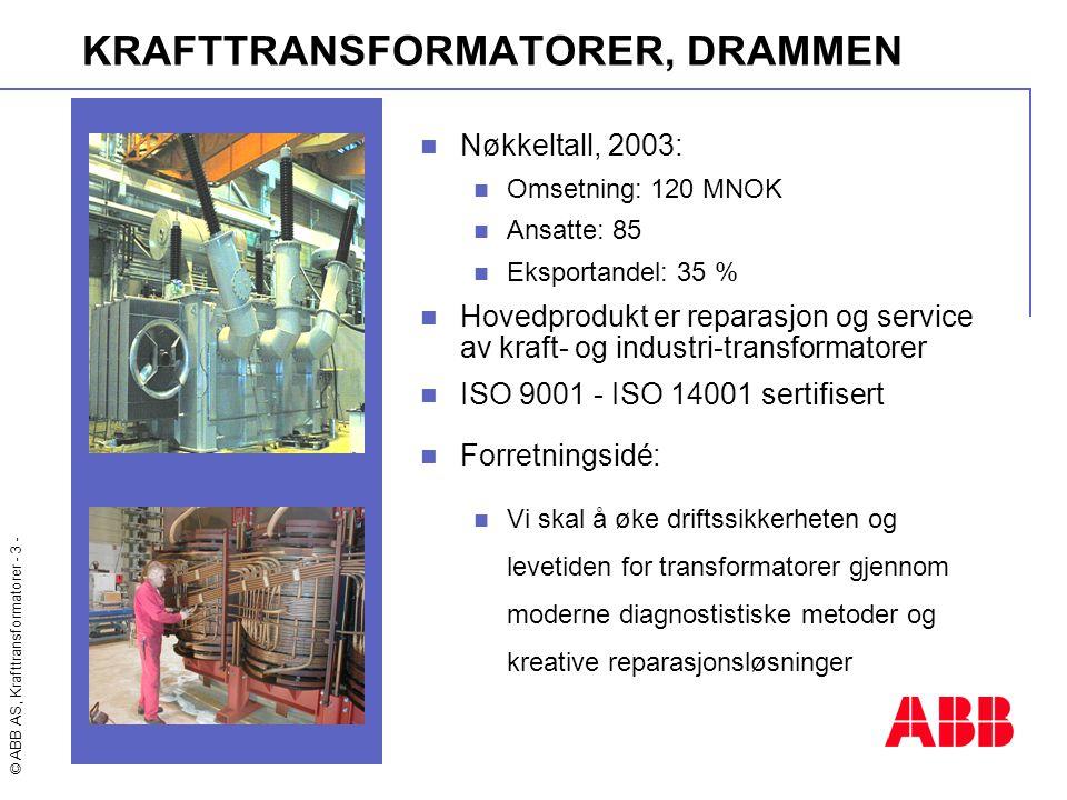 © ABB AS, Krafttransformatorer - 3 - KRAFTTRANSFORMATORER, DRAMMEN  Nøkkeltall, 2003:  Omsetning: 120 MNOK  Ansatte: 85  Eksportandel: 35 %  Hove