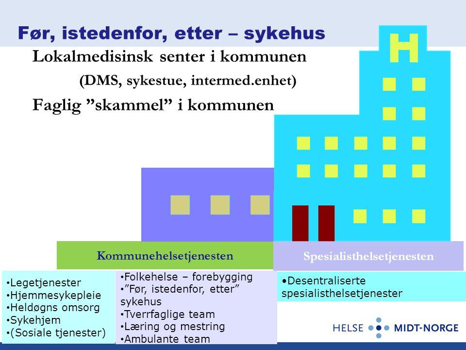 """Kommunehelsetjenesten Før, istedenfor, etter – sykehus Lokalmedisinsk senter i kommunen (DMS, sykestue, intermed.enhet) Faglig """"skammel"""" i kommunen Sp"""