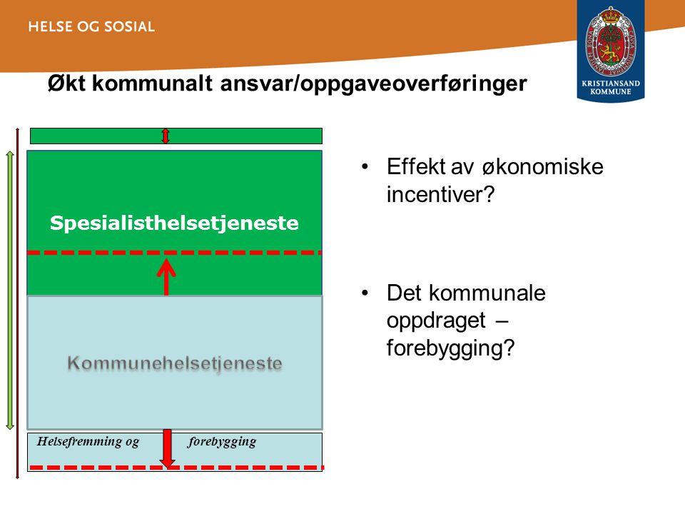 Økt kommunalt ansvar/oppgaveoverføringer •Effekt av økonomiske incentiver? •Det kommunale oppdraget – forebygging? Spesialisthelsetjeneste Helsefremmi
