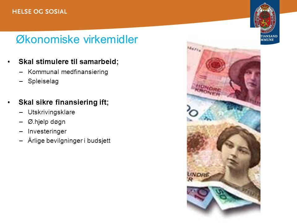 Økonomiske virkemidler •Skal stimulere til samarbeid; –Kommunal medfinansiering –Spleiselag •Skal sikre finansiering ift; –Utskrivingsklare –Ø.hjelp d