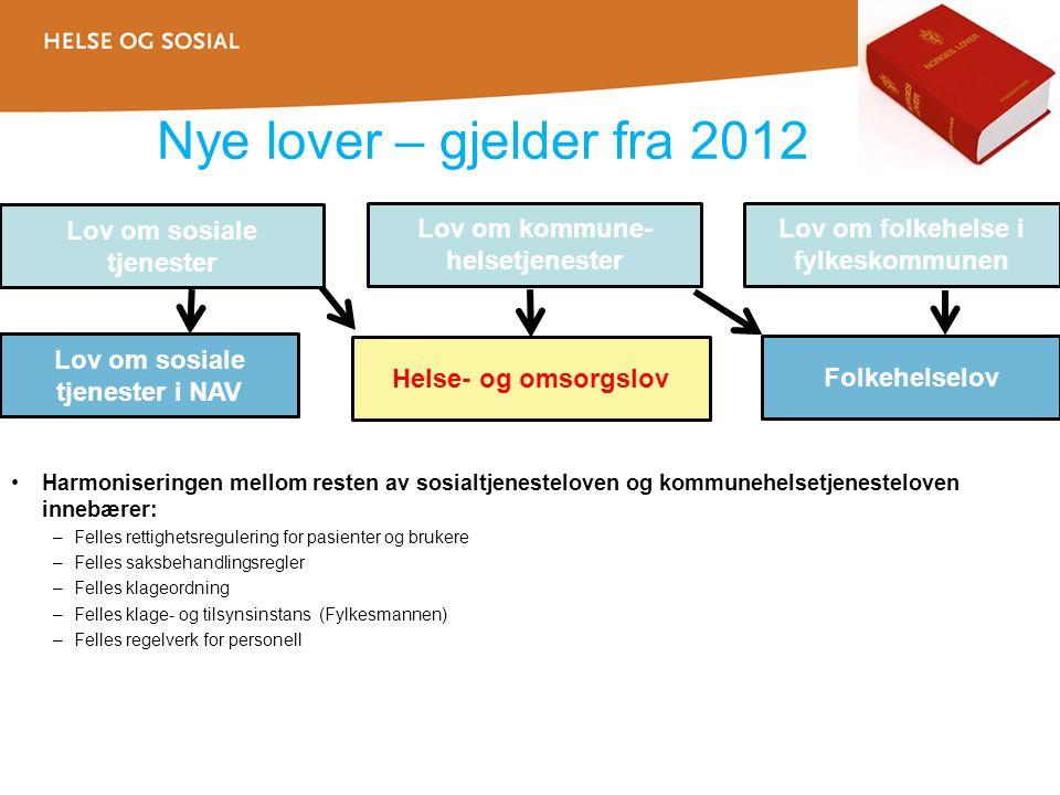 Nye lover – gjelder fra 2012 •Harmoniseringen mellom resten av sosialtjenesteloven og kommunehelsetjenesteloven innebærer: –Felles rettighetsregulerin
