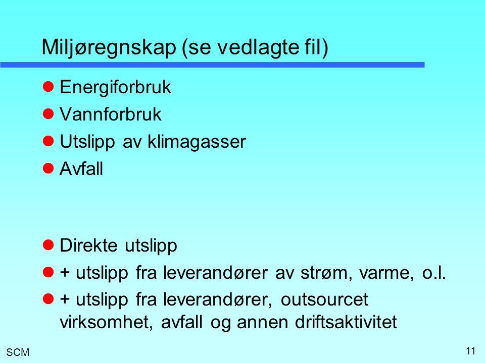 SCM Miljøregnskap (se vedlagte fil)  Energiforbruk  Vannforbruk  Utslipp av klimagasser  Avfall  Direkte utslipp  + utslipp fra leverandører av strøm, varme, o.l.