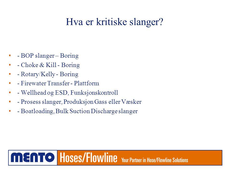 Hva er kritiske slanger? • - BOP slanger – Boring • - Choke & Kill - Boring • - Rotary/Kelly - Boring • - Firewater Transfer - Plattform • - Wellhead