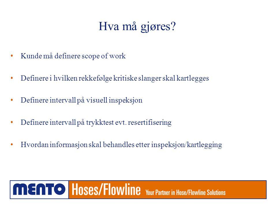 Hva må gjøres? • Kunde må definere scope of work • Definere i hvilken rekkefølge kritiske slanger skal kartlegges • Definere intervall på visuell insp