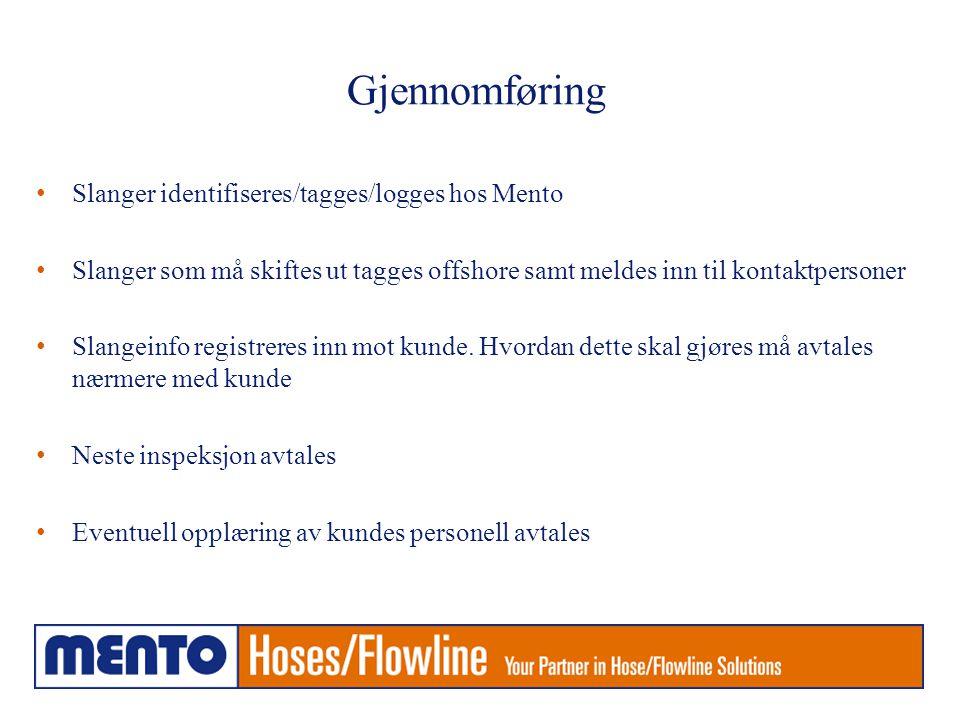 Mento Hose Management • Basert på Energy Institute Guidelines for the management of flexible hose assemblies , FHA