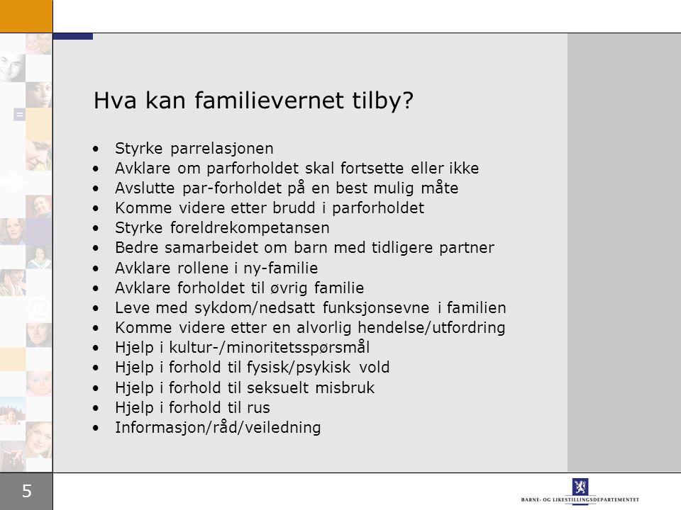 6 Fremtidige utfordringer for familievernet •Menns rolle under og etter samlivet •Barn i konfliktfamilier •Vold i familien •Det flerkulturelle familievernet •Nye familiemønster •Forebygging versus reparasjon
