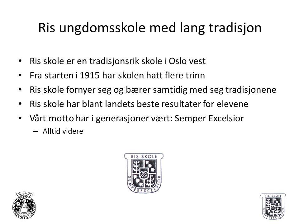 Ris ungdomsskole med lang tradisjon • Ris skole er en tradisjonsrik skole i Oslo vest • Fra starten i 1915 har skolen hatt flere trinn • Ris skole for