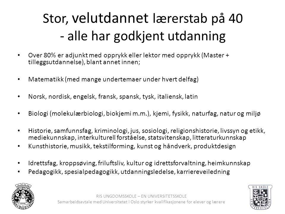 RIS UNGDOMSSKOLE – EN UNIVERSITETSSKOLE Samarbeidsavtale med Universitetet i Oslo styrker kvalifikasjonene for elever og lærere Stor, velutdannet lære